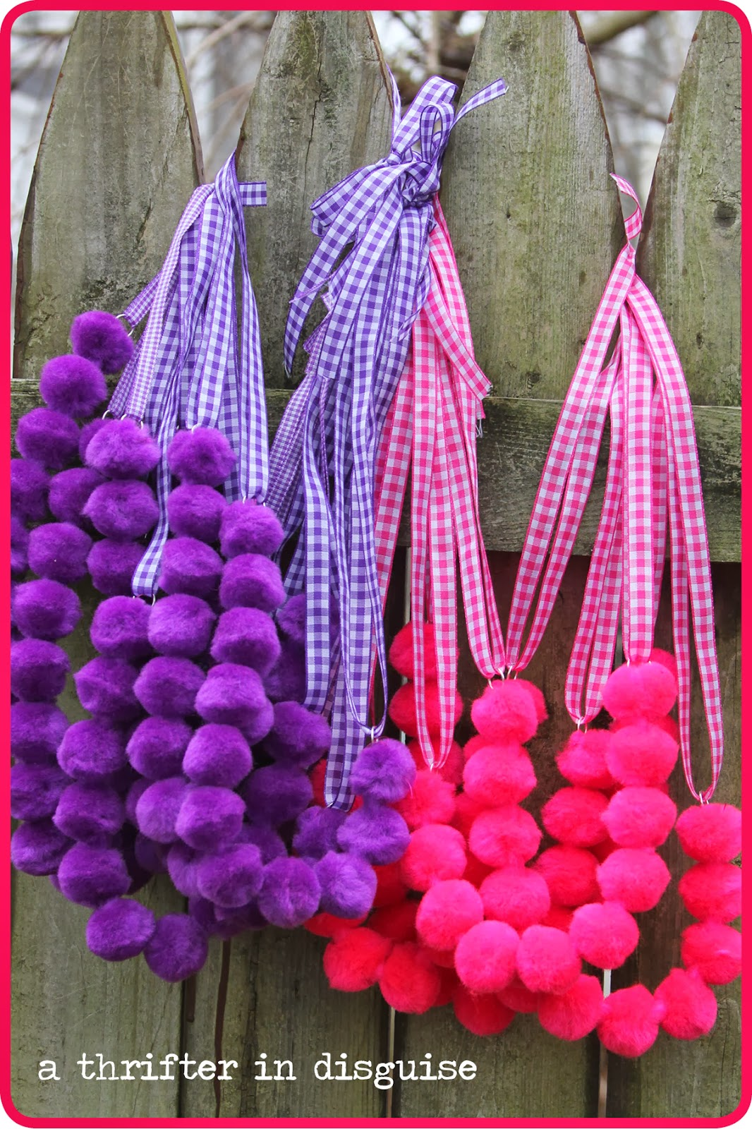 A Thrifter in Disguise Super Sweet Pom Pom Necklaces