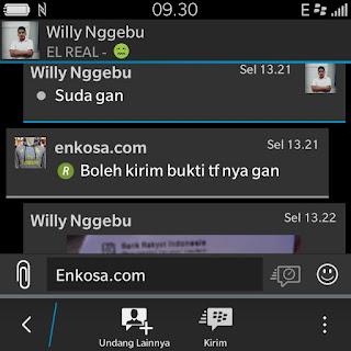 testimoni asli pembeli di enkosa sport toko online baju bola terpercaya Konfirmasi pembayaran jersey oleh Willy Nggebu di enkosa.com