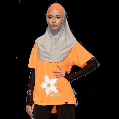 Desain Baju Senam Muslimah Warna Orange