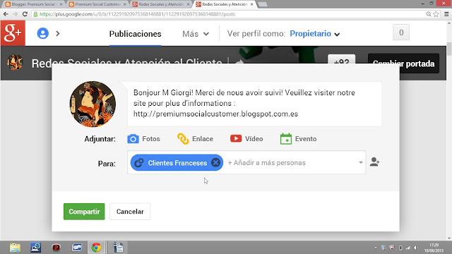 Segmentación y Personalización en Google Plus