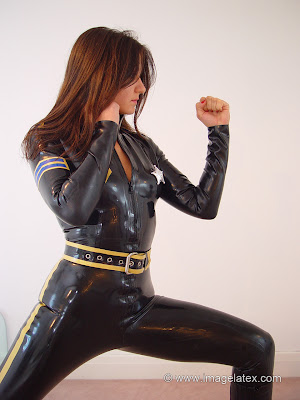 Yara in Black Latex Police Girl Outfit, Latex Catsuit Karate