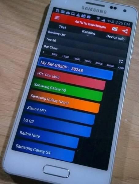 Test benchmark per il Samsung Galaxy Alpha su AnTuTu
