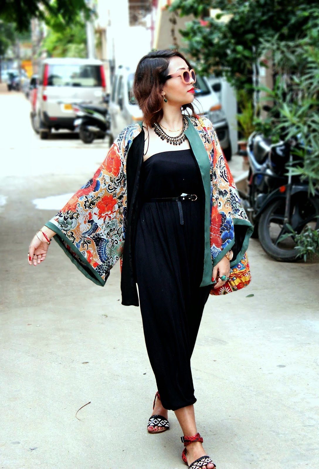 Wearing a Summer Kimono Cardigan with Black Jumpsuit