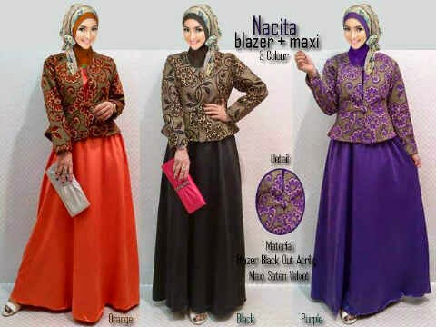 Material wide satin velvet + blazer tebal halus.  Fit to XL