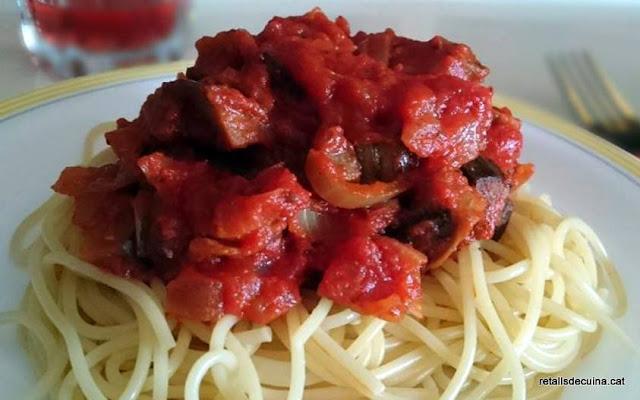 Espaguetis amb albergínies