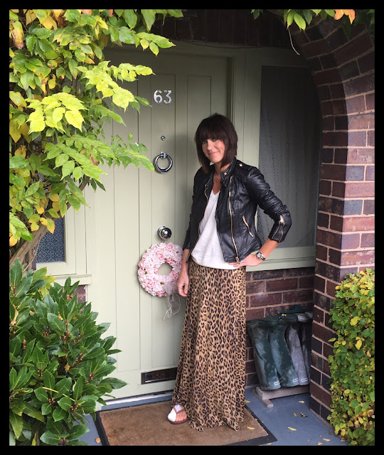 My Midlife Fashion, Zara Leather Biker Jacket, Leopard Print, Animal Print Maxi Skirt, Gap Merino Wool Jumper