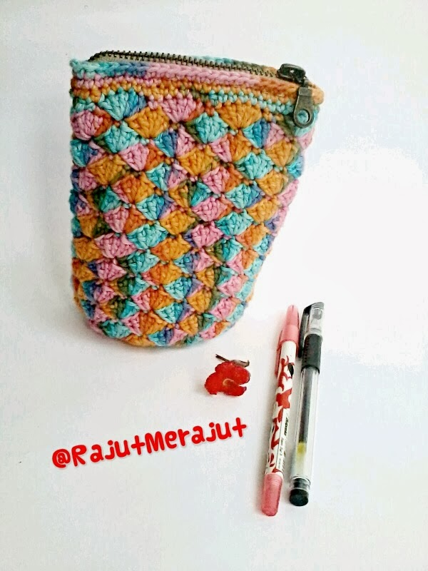 Tempat Pensil Rajut, Crochet Pencil Case, Kantong Pensil, Kotak Pensil Rajut, Dompet Pensil, Crochet Purse