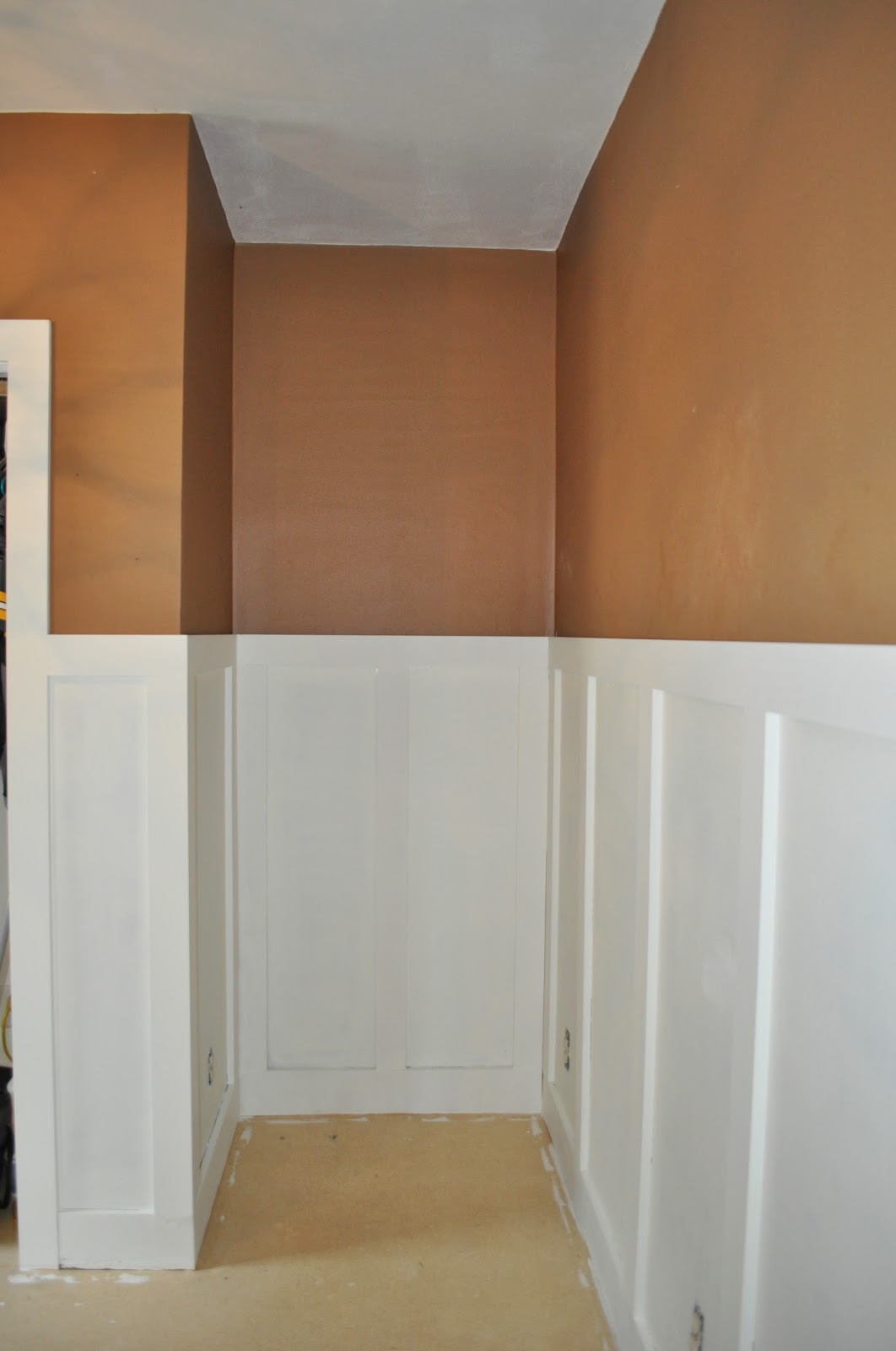 wainscoting, bedroom reno, bedroom redo, white paint, chocolate paint, lighting, menards