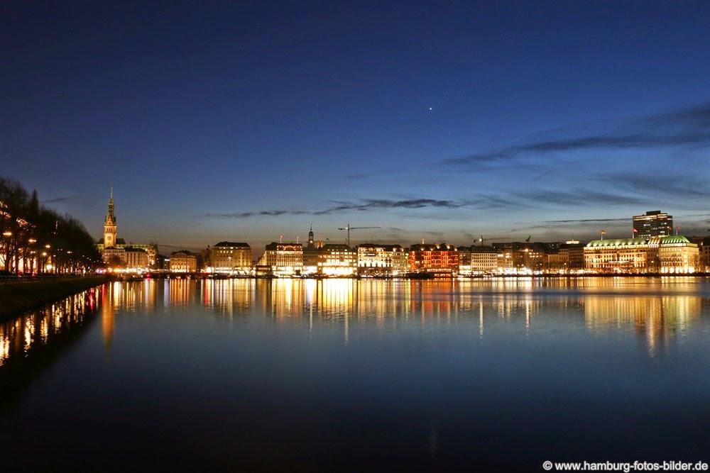 Hamburg Binnenalster bei Nacht