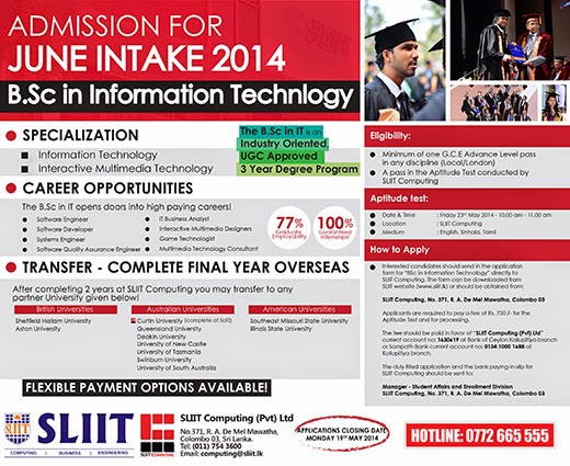 B.Sc in Information Technology | Admission for June intake 2014.