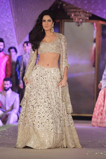 Katrina Kaif in a Sizzling Golden Cream Manish Malra Lehenga Choli on the ramp at Sahachari Foundation Promoting Fitoor