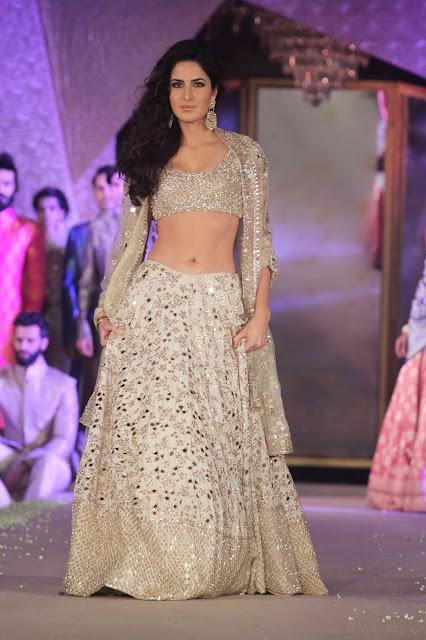 Katrina Kaif in a Sizzling Golden Cream Manish Malra Lehenga Choli on the ramp at Sahachari Foundation Promoting Fitoor