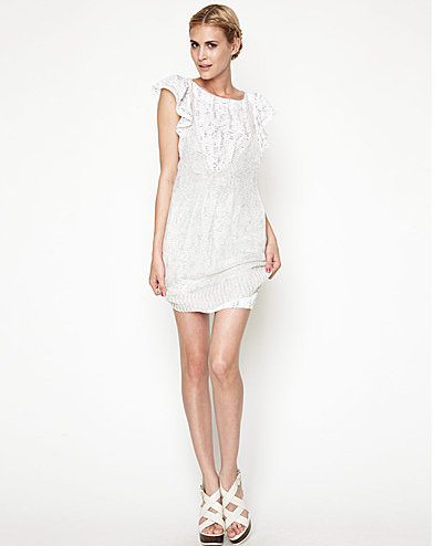 Bcbg White Dress on Bcbg White Flutter Sleeve Dress