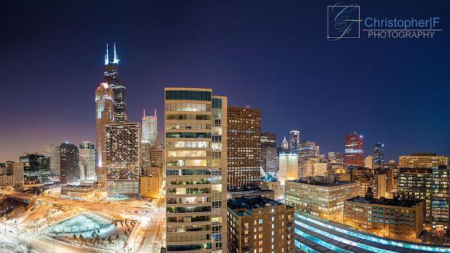 Chicago Loop Night View Panoramic Skyline