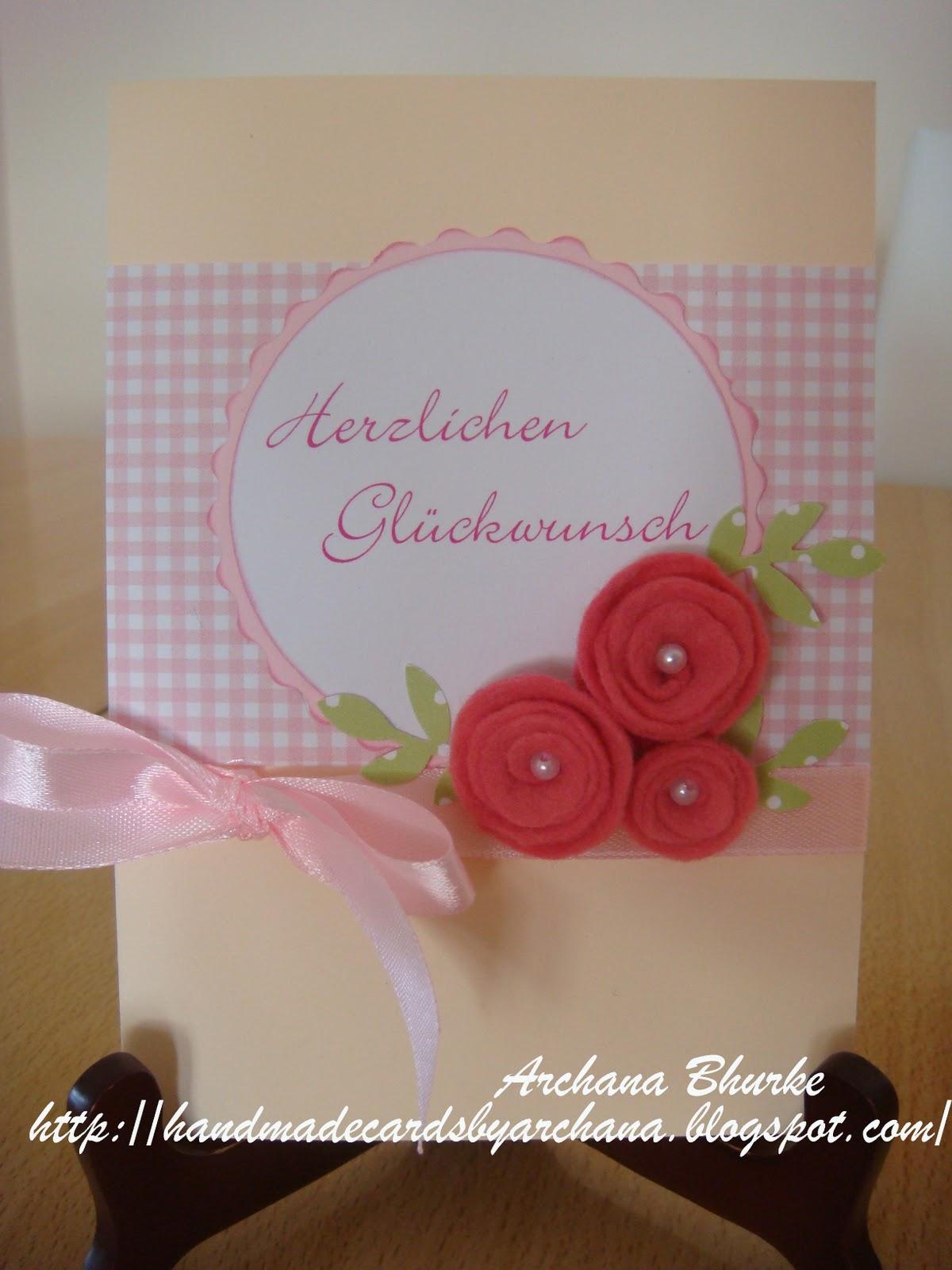 Handmade Cards By Archana Felt Flowers