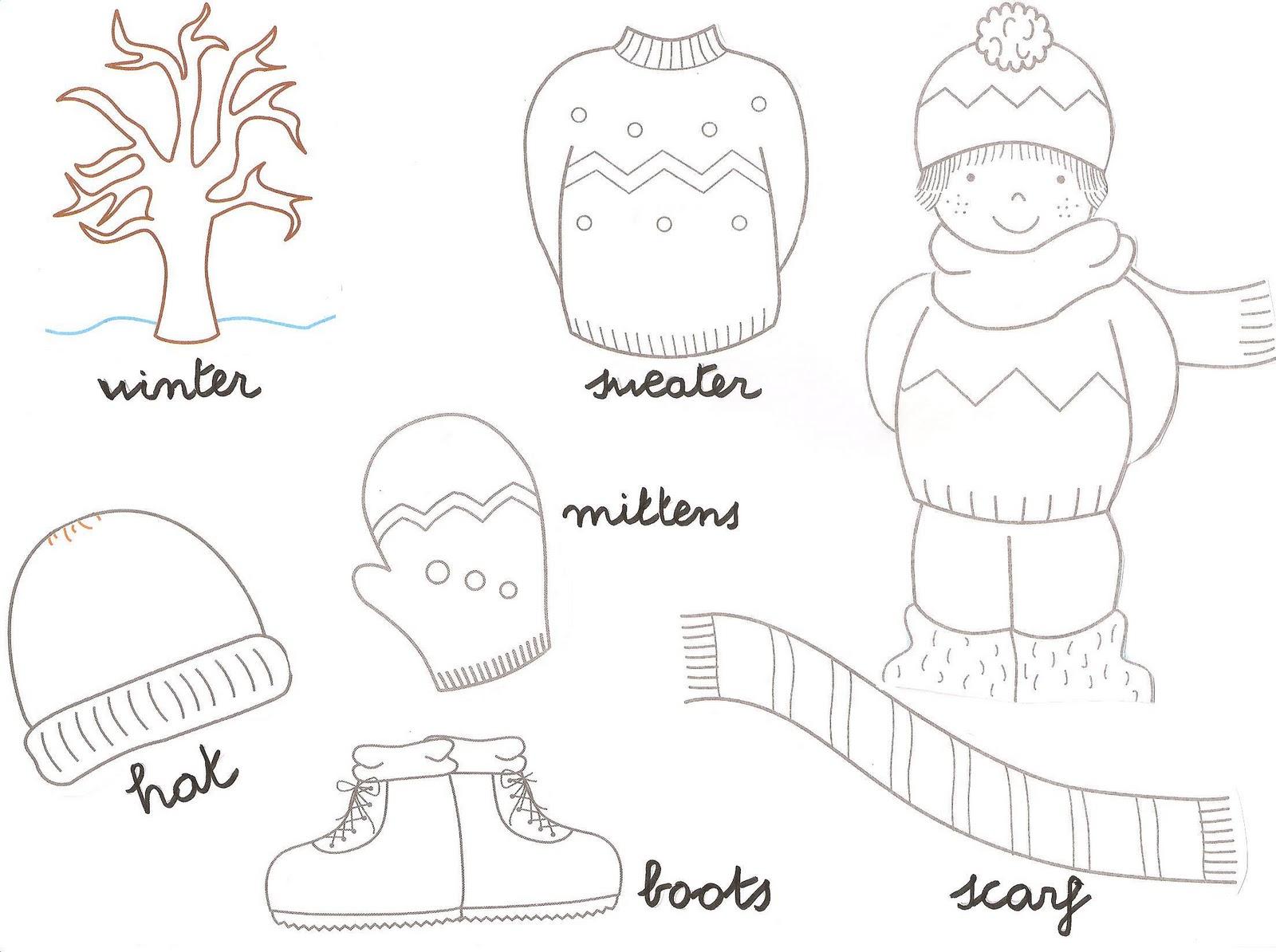 Prendas de invierno para colorear - Dibujos para colorear - IMAGIXS