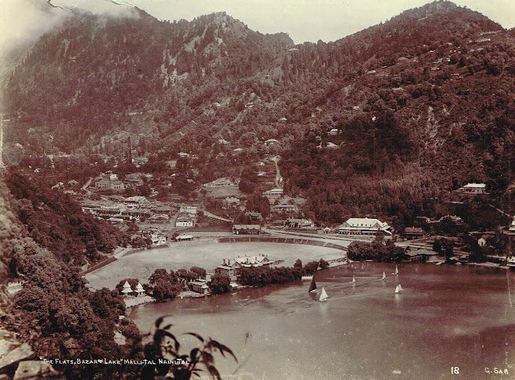 Views fo Nainital Lake in Himalaya -  Uttarakhand, India c1890's