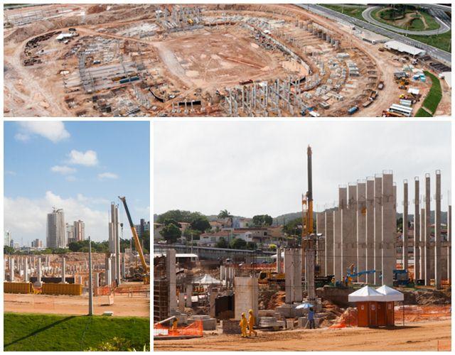 Situação das obras da Arena das Dunas em julho de 2012