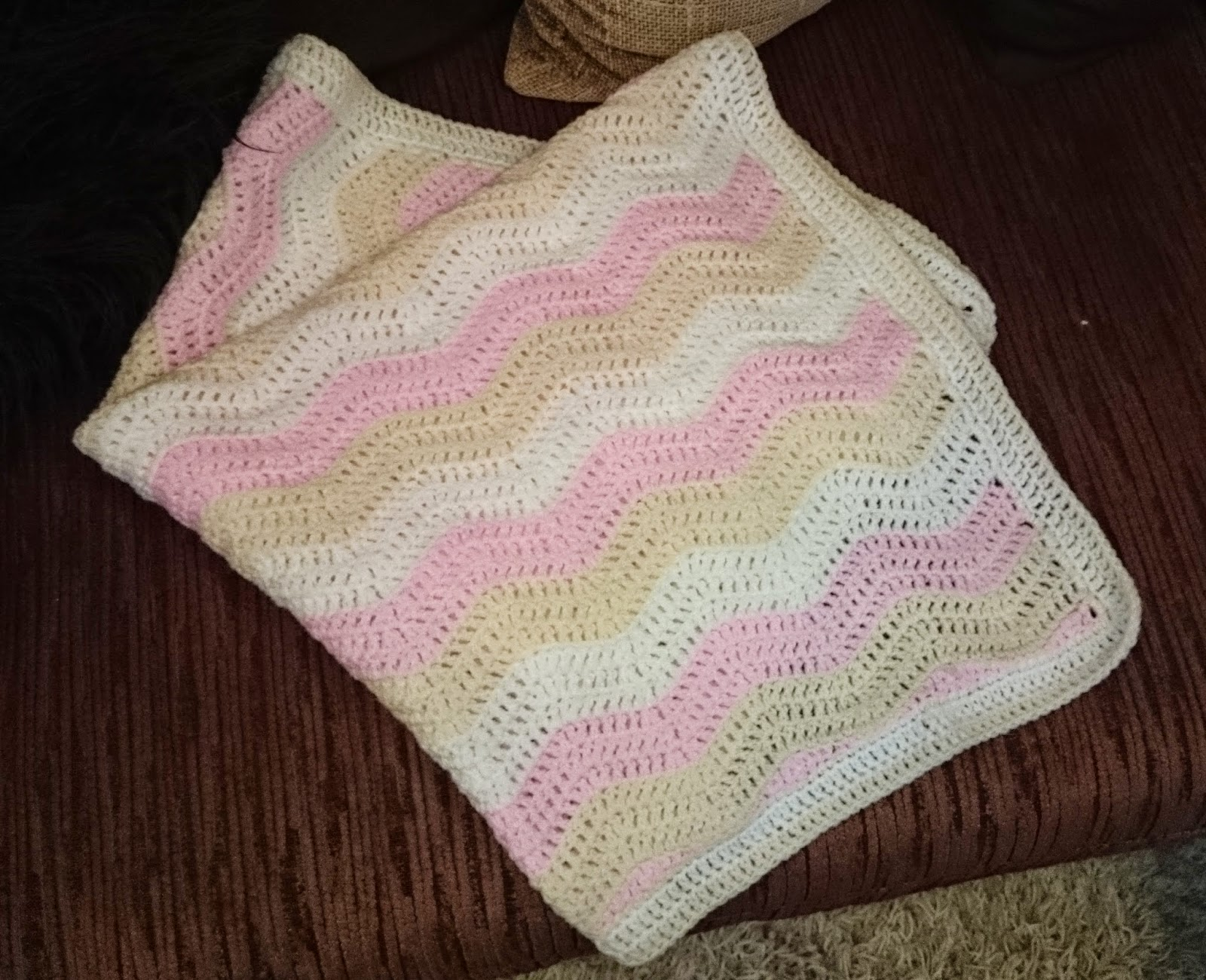 crochet baby ripple wave blanket with border pink white beige