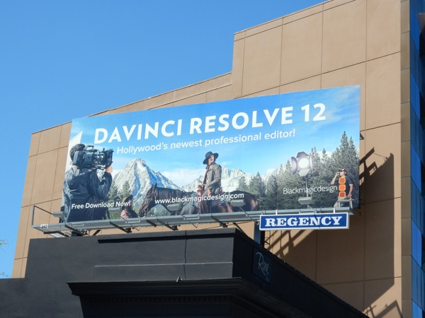 DaVinci Resolve 12 software billboard