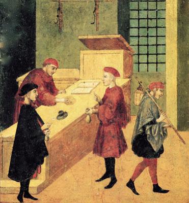 Siena, Biccherna: Il pagamento dei salariati del comune. (1400)
