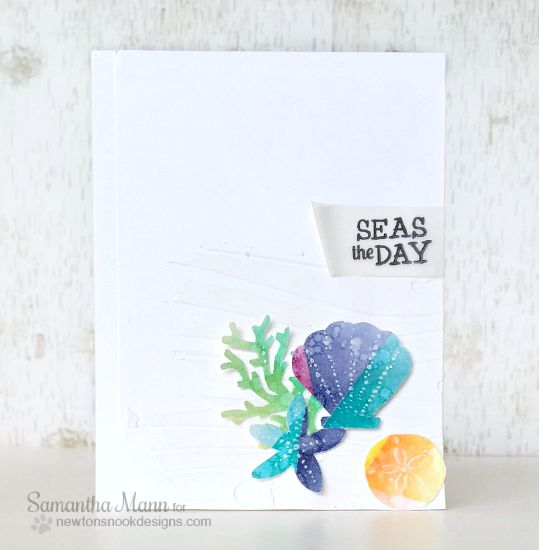Seas the Day seashell card by Samantha Mann | Tranquil Tides Stamp Set by Newton's Nook Designs #sea #ocean #seashell