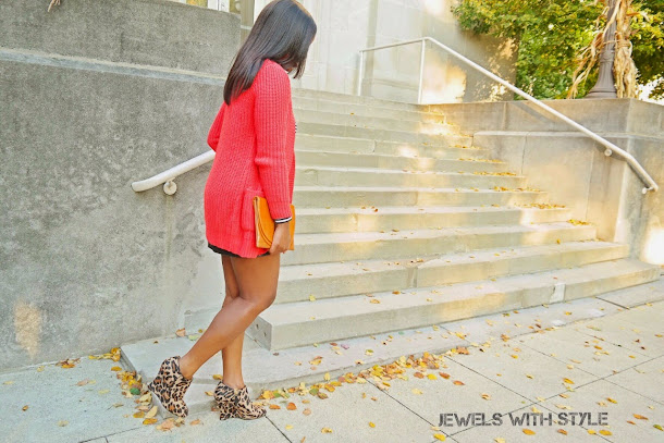 how to style a sweater, how to style a long cardigan, black leather skirt, sweater weather, how to wear a sweater, how to wear a cardigan, sweater with a skirt, chunky sweater, long sweater, jewels with style, black fashion blogger, columbus ohio blogger, bright sweater, leopard shoes, leopard boots