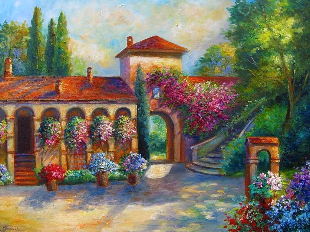 Cuadros modernos pinturas y dibujos fachadas y puertas - Paisajes de casas ...