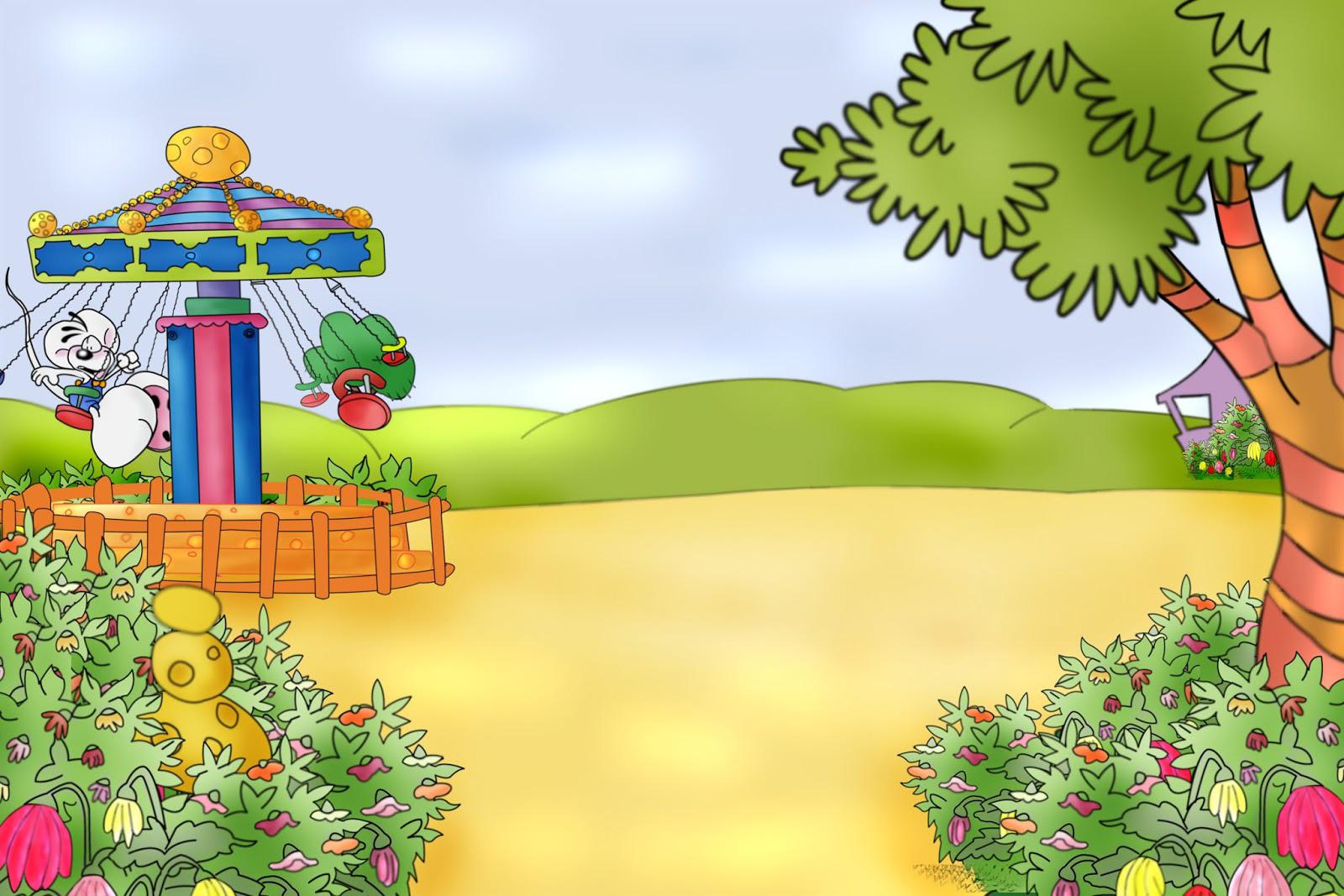 FONDOS PARA FOTOS: Caricatura de Carrusel en Parque para Nino