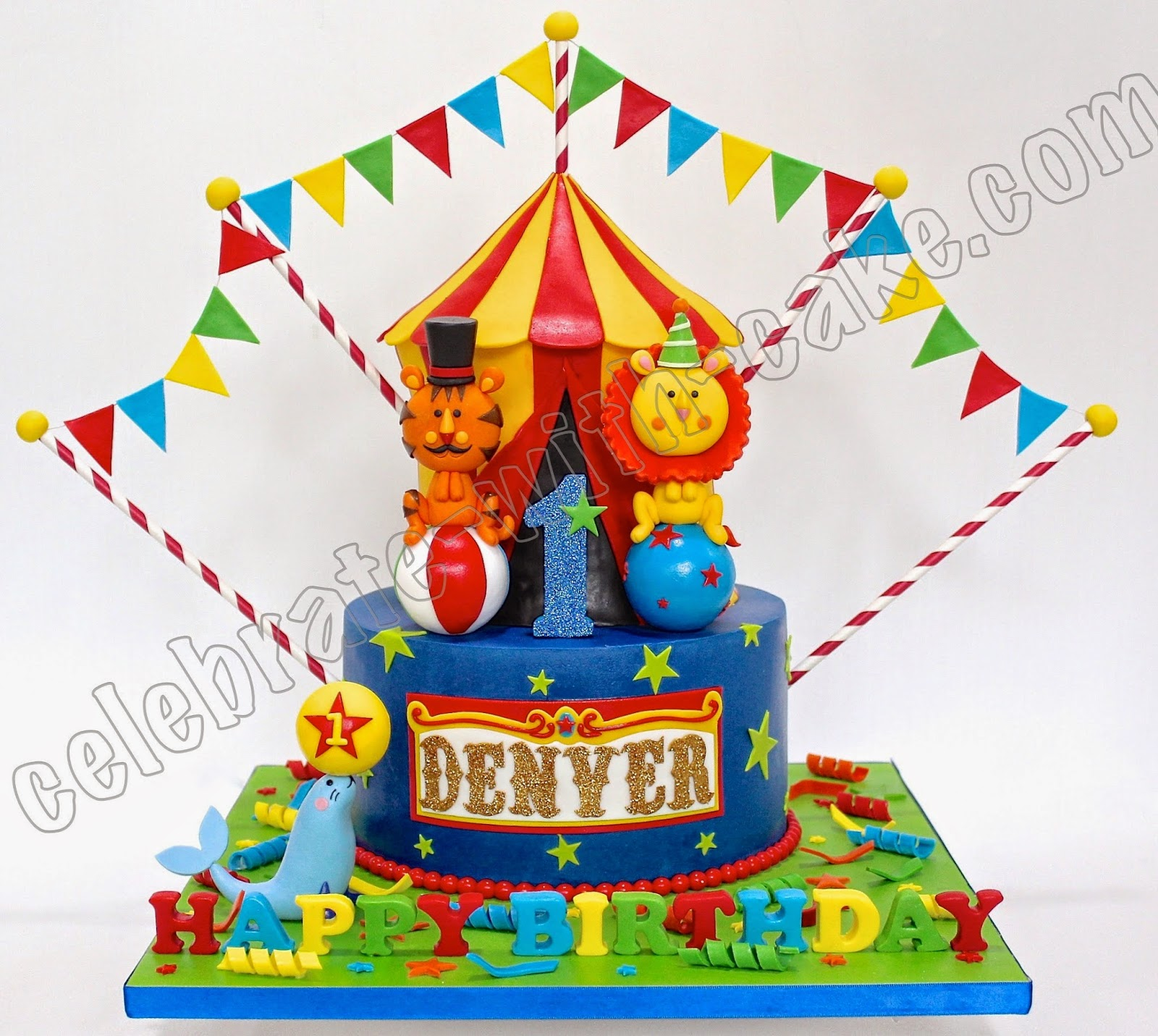 Celebrate With Cake Circus Carnival 1st Birthday 2 Tiers