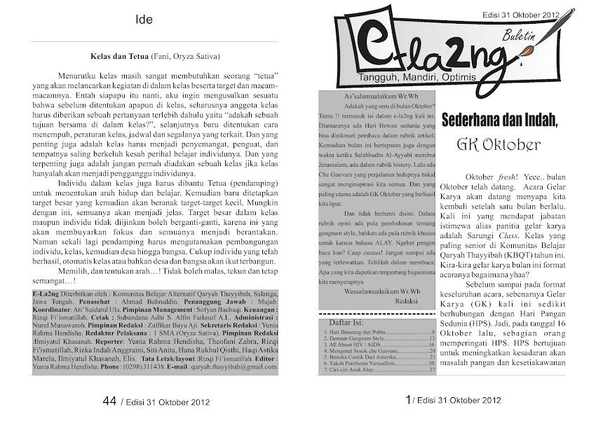 Buletin E-la2ng, edisi 31 Oktober 2012