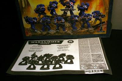 Instrucciones de la caja de Marines Espaciales de Warhammer 40000