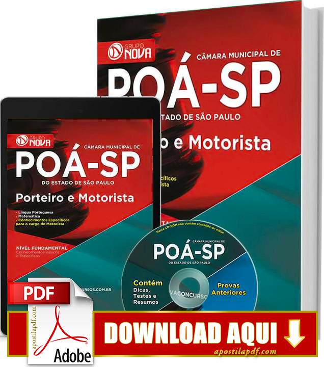 Apostila Porteiro e Motorista Poá 2015 PDF Download Grátis