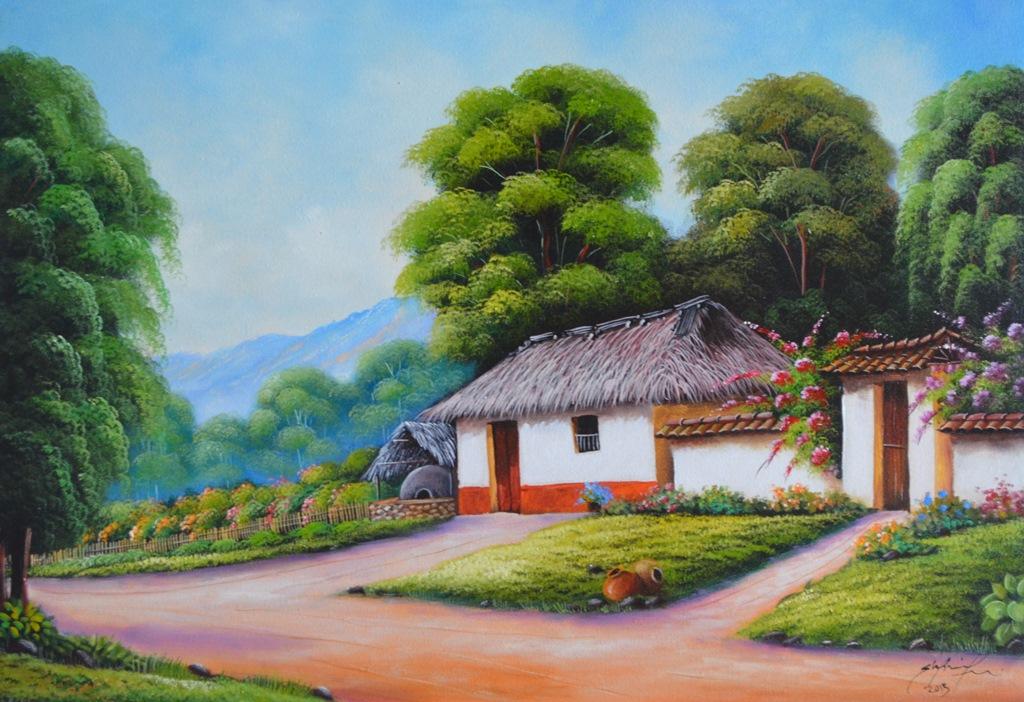 Pinturas al oleo de paisajes con casas de pueblos car - Paisajes de casas ...