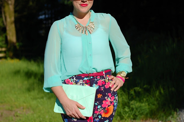 Target Canada floral pants, GAP mint clutch,sheer mint Forever 21 blouse,and pink suede pumps