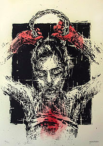 Street Art Limited Screen Print by Street Artist Borondo