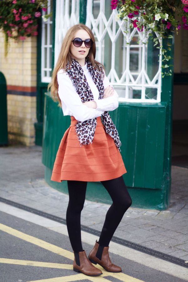 Burnt orange H&M skirt