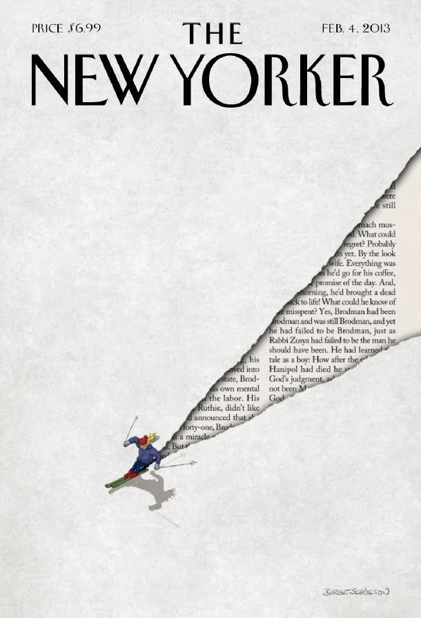 illustration of downhill ski  by Birgit Schössow  for the Newyorker