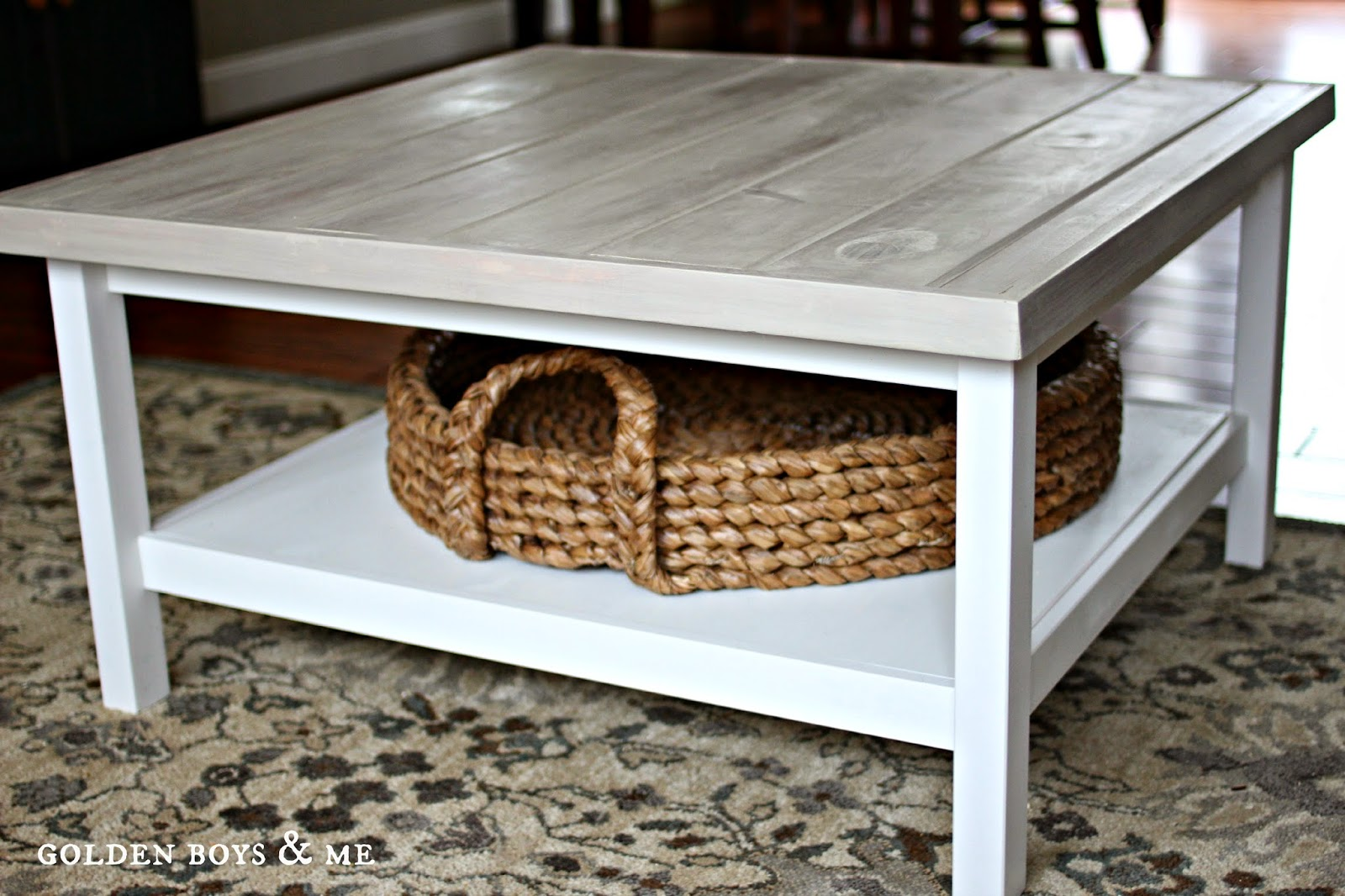 Ikea hack Hemnes coffee table with gray weathered wood plank top and Pottery Barn beachcomber round tray basket-www.goldenboysandme.com