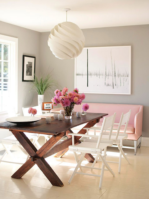 Grey+dining+room+with+picnic+table+and+pink+couch+via+gildandgrace.blogspot.com