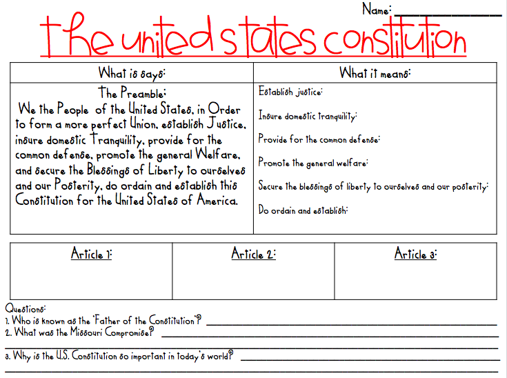 Working 5 to 9 Math and Science Constitution Day – Constitutional Convention Worksheet