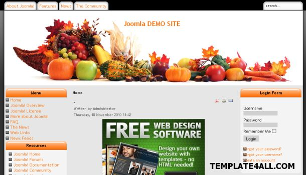 Recipes Food Orange Joomla Template