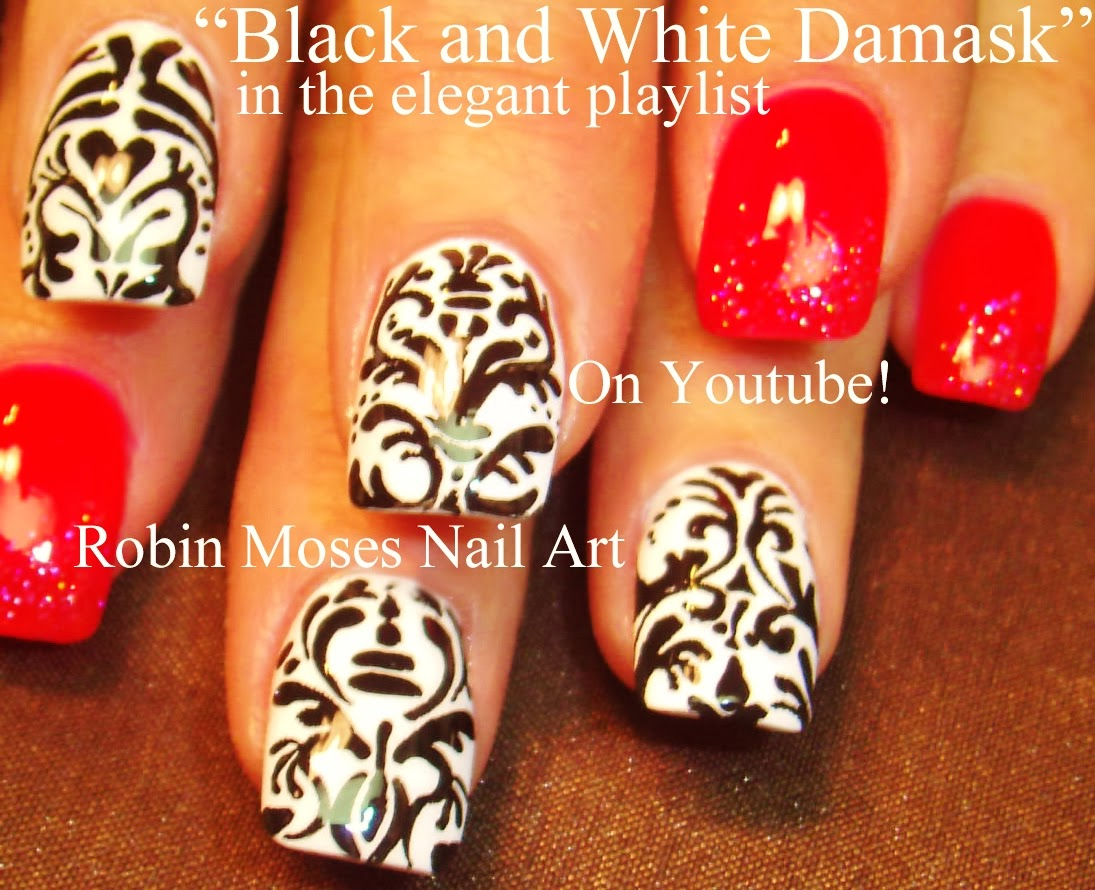 Nail Art By Robin Moses Damask Nails Damask Nail Art Nail Art