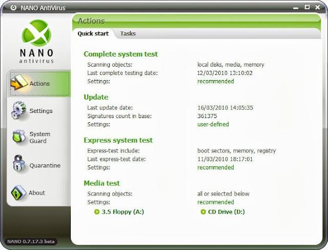 برنامج مجانى مميز للحماية من الفيروسات والبرمجيات الخبيثة والضارة NANO AntiVirus 0.26.0.55203