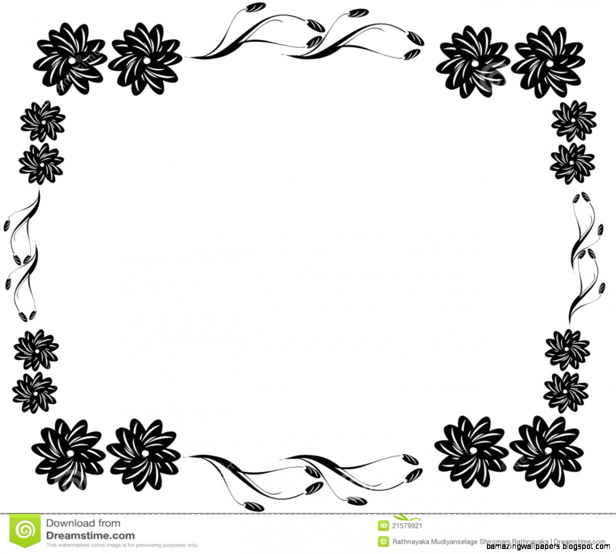 Decorative Black Flower Border Stock Image   Image 21579921