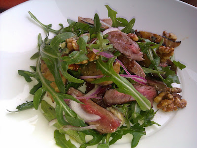 Seared Rare Beef Salad with Roast Pear, Walnuts and Gorgonzola