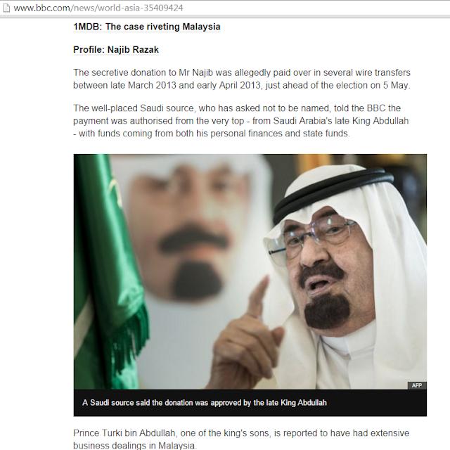 Arab Saudi Sah Derma Kepada Najib Razak