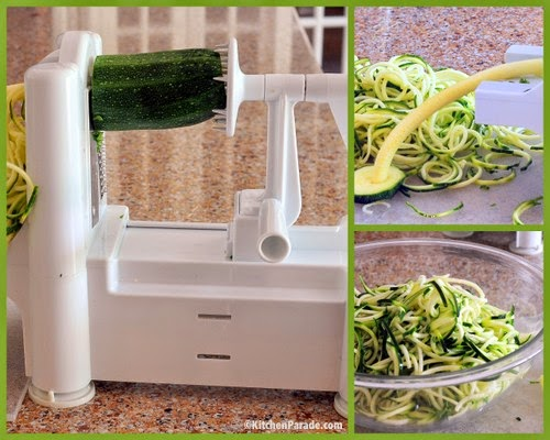 Making zucchini noodles with a spiralizer. Recipe, tips, nutrition, WW points at Kitchen Parade.