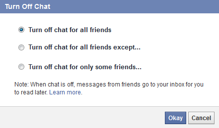 Turn off Chat - Facebook Tricks