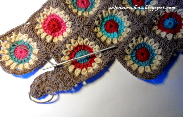how to crochet half sunburst granny square